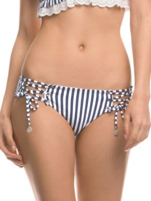 Striped Lace-Up Bikini Bottom by Isabella Rose