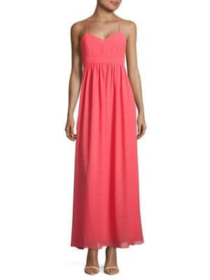 Bethany Crisscross-Back V-Neck Dress by Belle Badgley Mischka