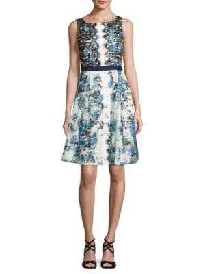 Floral-Lace Fit-and-Flare Dress by Karl Lagerfeld Paris
