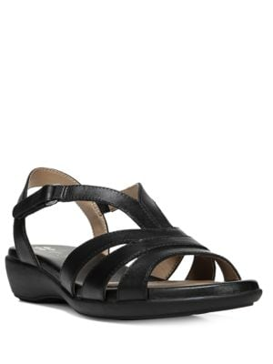 Neina Leather Wedge Sandals
