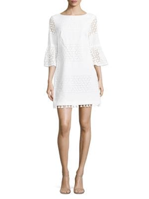 Geometric Eyelet Shift Dress by Vince Camuto
