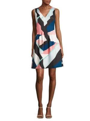 Abstract-Print Pleated Dress by Vince Camuto