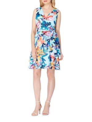 Chiffon Floral Faux-Wrap Dress by Tahari Arthur S. Levine