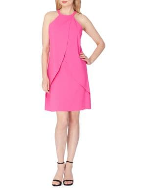 Chiffon Halter Neck Tulip Dress by Tahari Arthur S. Levine
