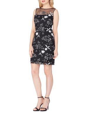 Illusion Bodice Sequin Lace Dress by Tahari Arthur S. Levine