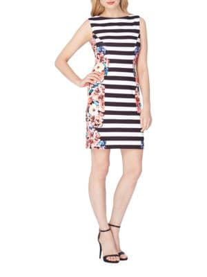 Floral and Stripe Print Crepe Sheath Dress by Tahari Arthur S. Levine