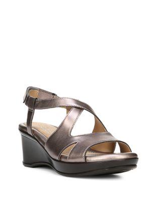 Villette Crisscross Leather Wedge Sandals by Naturalizer
