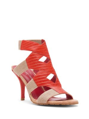 Gwen Leather-Trimmed Cutout Sandals by Donald J Pliner