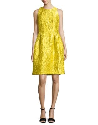 Sleeveless Patterned Fit-&-Flare Dress by Carmen Marc Valvo