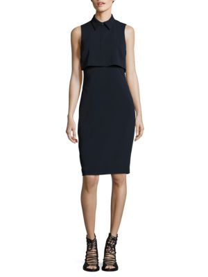 Collared Popover Dress by Badgley Mischka Platinum