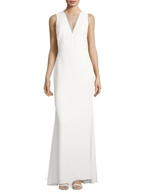 Ruffled Illusion-Back Gown by Badgley Mischka Platinum