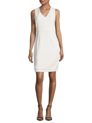 Mesh-Accented Sheath Dress by Calvin Klein