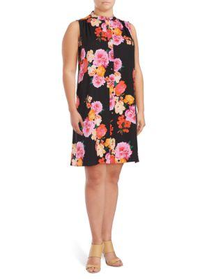 Floral-Print Sleeveless Dress by Calvin Klein Plus