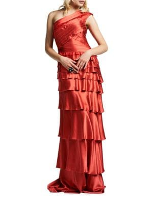 One-Shoulder Tiered Gown by Kay Unger