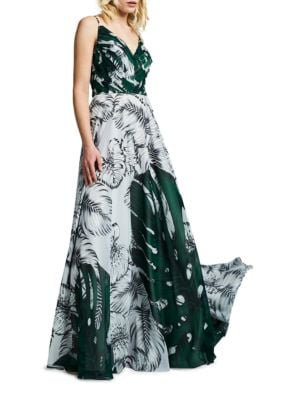 Leaf Printed Chiffon Gown by Kay Unger