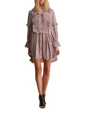 Amber Ruffled Bib Long-Sleeve Dress