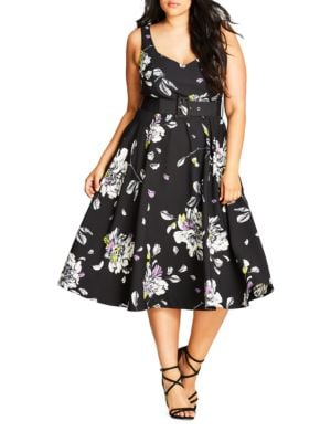 Painterly Floral Sketch Dress by City Chic