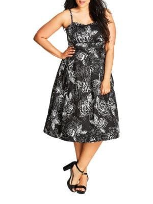Plus Rose-Print Sweetheart Dress by City Chic