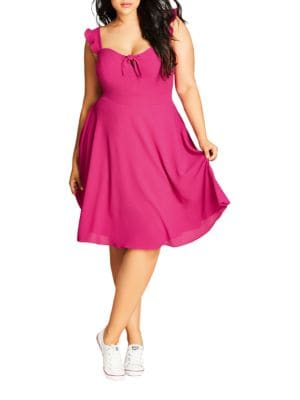Knotted Flutter Dress by City Chic