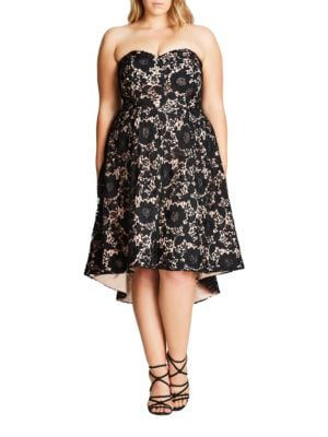 Plus Strapless Sierra Lace Dress by City Chic