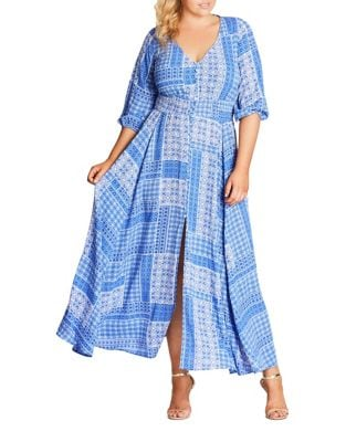 Plus Printed Shirred Maxi Dress by City Chic