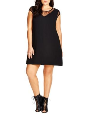 Oasis Floral Lace Shift Dress by City Chic
