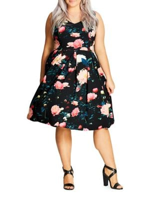 Plus Delight Floral-Print Fit-&-Flare Dress by City Chic