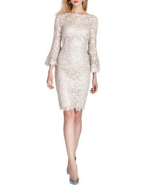 Bell Sleeve Lace Sheath Dress by Teri Jon