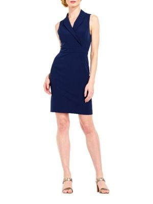 Solid Notch Lapel Sleeveless Dress by Adrianna Papell