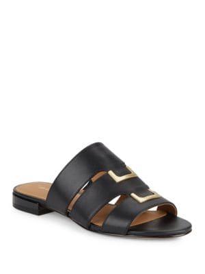 Evita Leather Slide Sandals by Calvin Klein