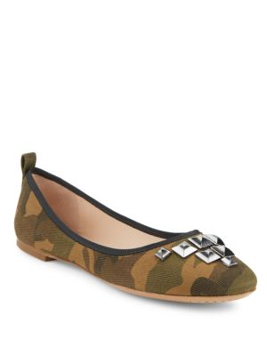 Cleo Studded Camouflage Flats by Marc Jacobs
