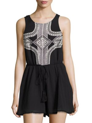 Geo-Embroidered Sleeveless Romper by Vitamin A