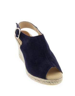 Belle Suede Peep Toe Espadrille Mules by Patricia Green