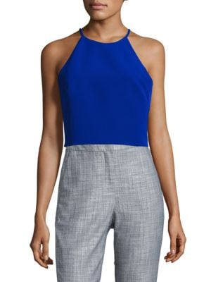 Nora Halterneck Sleeveless Cropped Top by Belle Badgley Mischka