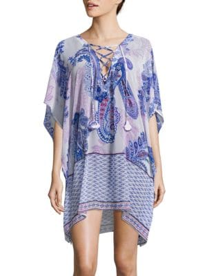 Paisley Leaves Lace-Up Tunic by Tommy Bahama