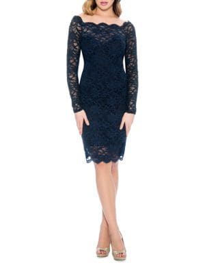 Fitted Scalloped Lace-Overlay Dress by Decode 1.8