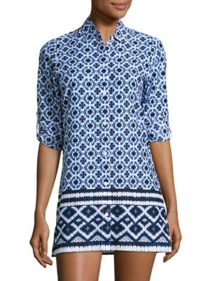 Shibori-Print Cotton Top by Tommy Bahama