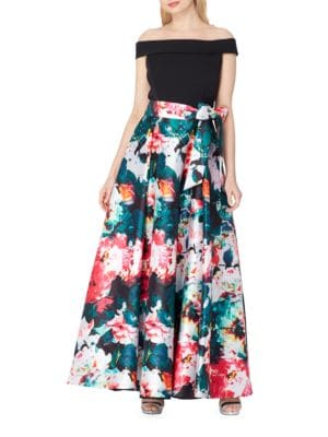 Off-the-Shoulder Floral Ball Gown by Tahari Arthur S. Levine