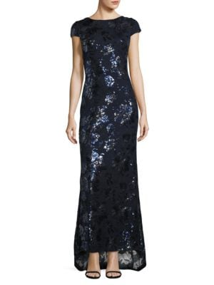 Cowlback Floral Sequin Gown by Calvin Klein