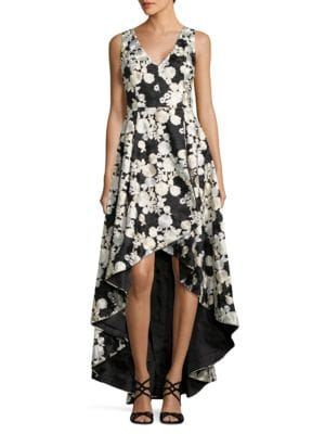 Embroidered Floral Hi-Lo Gown by Calvin Klein