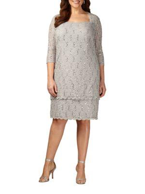 Sequined Squareneck Lace Shift Dress by Alex Evenings