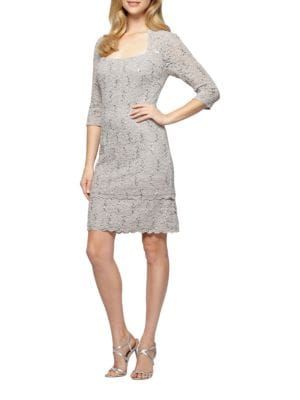 Sequined Lace Shift Dress by Alex Evenings