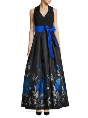 Jacquard Floral-Print Gown by Eliza J