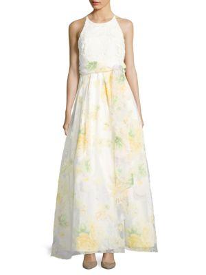 Floral-Print Halterneck Gown by Eliza J