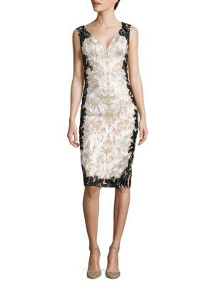 Embellished Lace Sheath Dress by Betsy & Adam