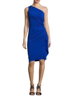 Asymmetric Neckline Ruffled Dress by Nicole Bakti