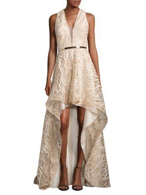 Textured Asymmetric V-Neck Gown by Nicole Bakti