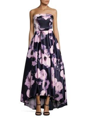 Floral-Print Hi-Lo Gown by Xscape