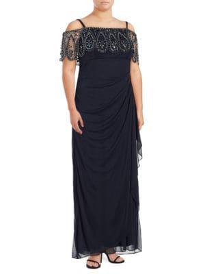 Beaded Overlay Dress by Xscape