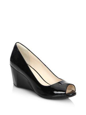 Sadie OT Patent Leather Peep Toe Wedge Pumps by Cole Haan